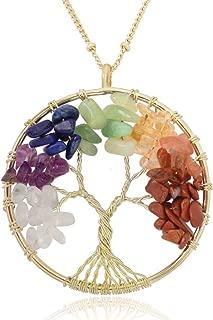Tree of Life Wire Wrap 7 Chakra Gemstone Pendant Necklace on 30