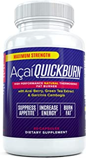 Acai Quick Burn - High Performance Natural Fat Burner Supplement for Men and Women with Acai Berry, Garcinia Cambogia, and...
