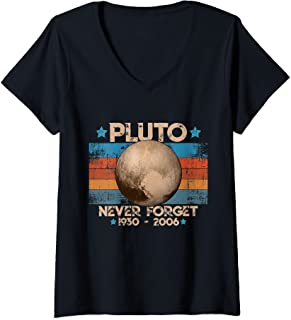 Femme Vintage Never Forget Pluto - Planète Pluton Astronomie Space T-Shirt avec Col en V