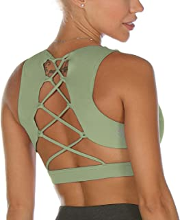 icyZone Workout Clothes Racerback Yoga Clothes Sexy Strappy Sports Bra for Women