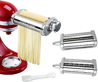 Pasta Maker Attachment Set 3-Piece for KitchenAid Stand Mixer, Pasta Sheet Roller, Spaghetti Cutter, Fettuccine Cutter, St...