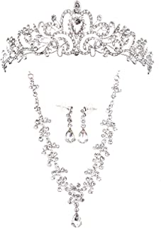 WSSROGY Jewelry Set Rhinestone Tiara Necklace Earrings for Bridal Wedding Banquet Dinner Party (Silver)