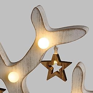 LuminalPark - Árbol luminoso Vintage de madera con Estrellas y Luces LED blanco cálido a pilas, h. 50 cm para Decoración de Interiores y Adornos navideños