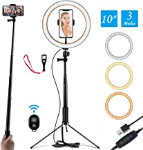 "Ring Light 10"" Selfie Light Ring with Adjustable Bracket (14.56'' to 65'') Remote Control 120 Bulbs Ringlight for YouTube Video/Live Stream/Makeup/Photography (Floor Version)"