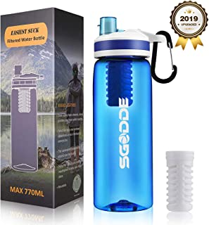 SGODDE Water Filter Bottles, 2019 Latest Filtered Water Bottle Filter Straw BPA Free for Hiking, Camping, Backpacking and Travel