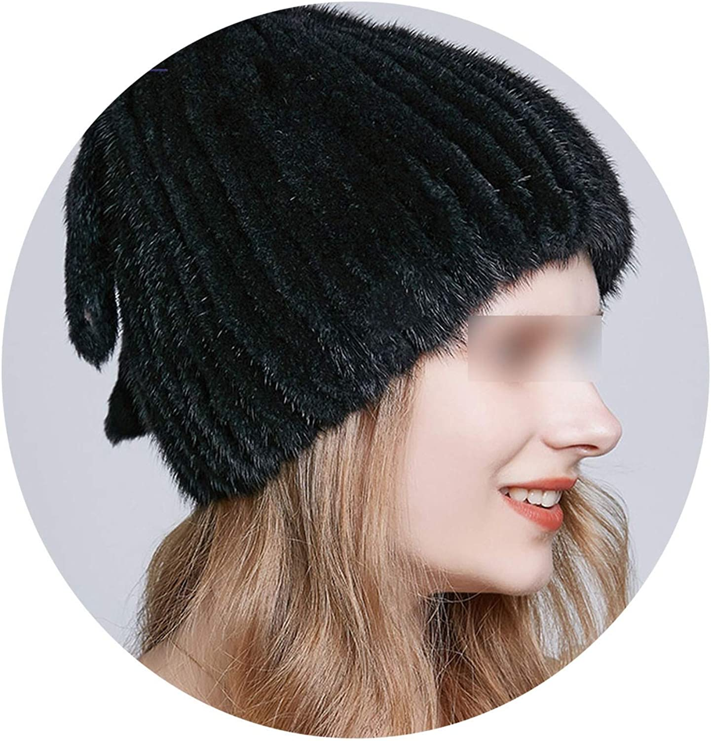 MTStyle Natural Mink Fur Winter Hats Three Tails Type Fur Hat Luxury Knitted Caps