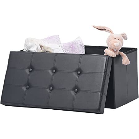 """AuAg Folding Storage Ottoman Bench Faux Leather Toy Box/Chest Living Room Seat Foot Rest Storage Organizer Easy to Assemble (Black, 30"""")"""