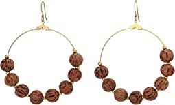 Wood Bead/Gold Spacer Large Hoop Earring with Fishhook Earrings