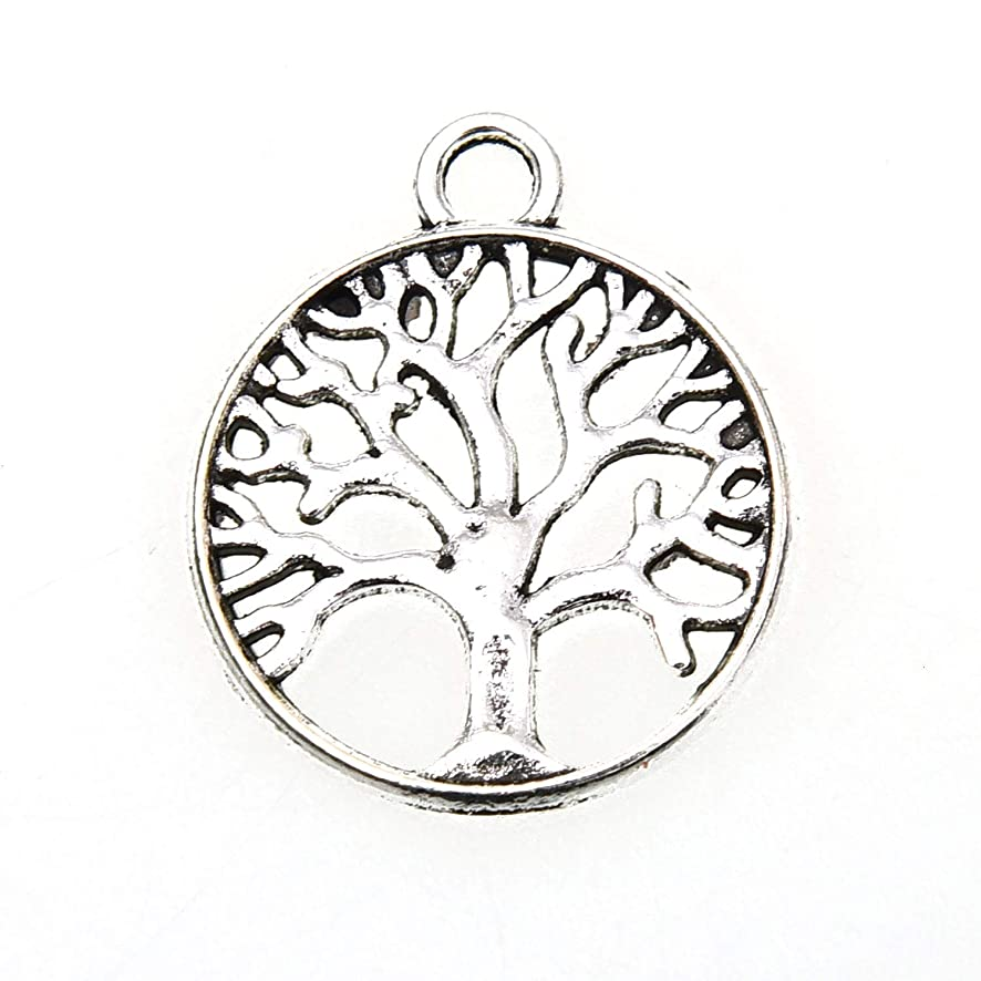 Monrocco 40 Pcs Tree of Life Charm Pendants for Crafting Bracelet Necklace Jewelry Findings Jewelry Making Accessory, Antique Silver Tone