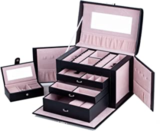Large Mirror Luxury JewePremium PU Leather Jewelry Box Bracelet Rings Necklace Storage Organiser with Mirror Travel Case Lock Key ZG237 (Black)