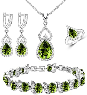 LMXXVJ Women Jewelry Set Platinum Plated Necklace Open Ring Earrings Bracelet Set,Birthday/Anniversary Mother's Day Jewelr...
