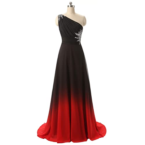 0d50b7a8dfaf ANGELA One Shoulder Ombre Long Evening Prom Dresses Chiffon Wedding Party  Gowns