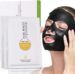EDANNA Charcoal Black Facial Mask Delay Aging and Antioxidant Brighten Skin Rich in Various Nutrients of Rose Petals Super Deep Adsorption Clean, 5 Pcs