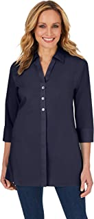 Foxcroft womens Pamela 3/4 Sleeve Non Iron Stretch Tunic Button Down Shirt