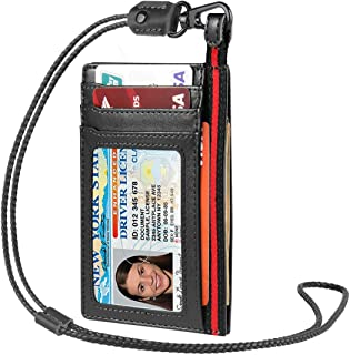 Leather ID Badge Holder, XGUO Credit Card Holder Leather Front Pocket Side Style a Half of Clear ID Card Holders with Neck Leather Lanyard Necklace Lanyard for Offices ID, School ID, Credit Cards