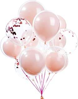 Forzza 10 Double Balloons and 5 Pink Confetti Balloons for Party Decoration