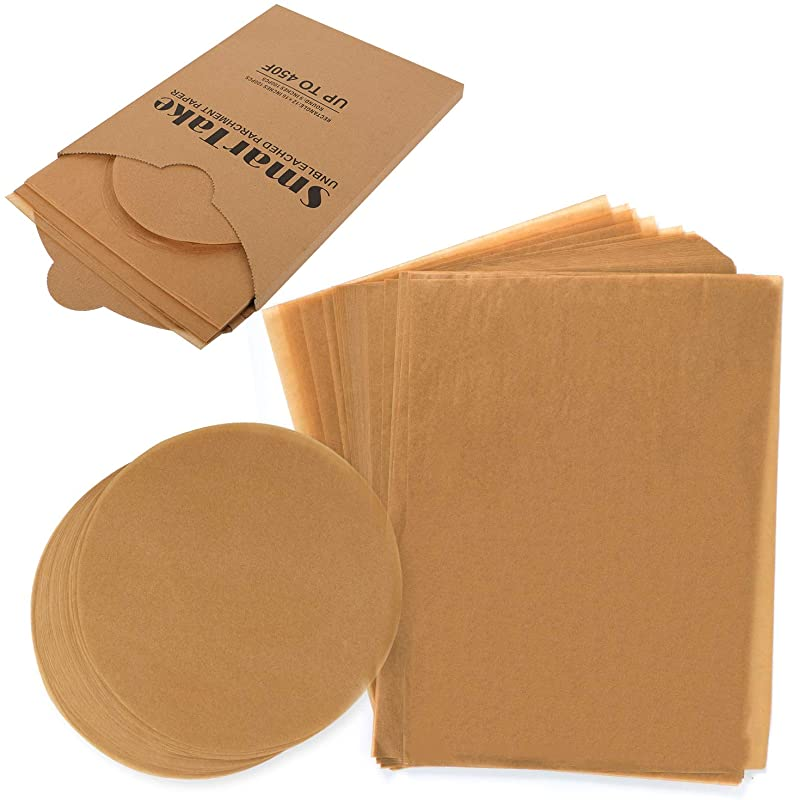 SMARTAKE 200 Pcs Unbleached Parchment Paper Non Stick 100 Pcs 12x16 Inches Rectangle 100 Pcs 9 Inches Round Baking Sheets For Grilling Air Fryer Steaming Bread Cake Cookie Unbleached