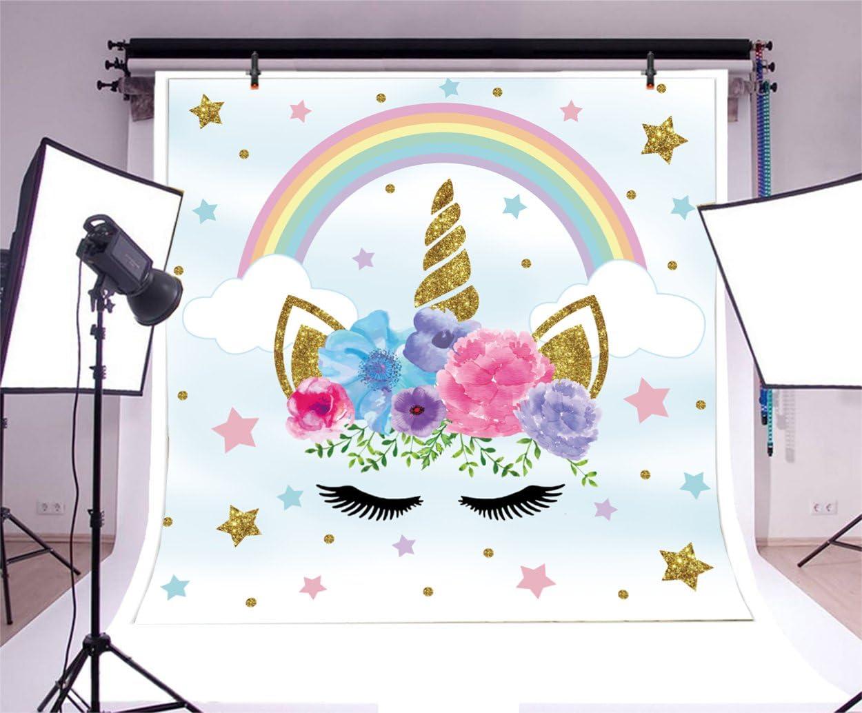 Yeele 10x10ft Birthday Party Banner Backdrop Sweet Flowers Cartoon Unicorn Rainbow Stars Photography Background Baby Shower Infant Newborn Child Girl Artistic Portrait Photo Shoot Studio Props
