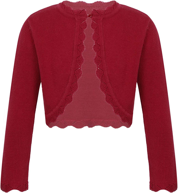 FEESHOW Kids Girls Knitted Cardigan Long Sleeve One Button Closure Bolero Shrug Sweater Autumn Fall Clothes