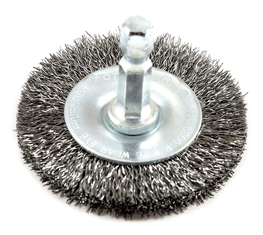 Forney 72728 Wire Wheel Brush, Fine Crimped with 1/4-Inch Hex Shank, 2-Inch-by-.008-Inch