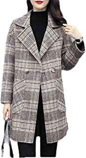Howely Womens Lapel Plaid Double Breasted Slim Autumn Fleece Jacket Overcoat