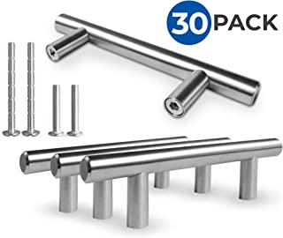 "Kitchen Cabinet Door Handle Set: Modern Satin Nickel Stainless Steel Handles For Cabinets, Cupboards and Drawers - Silver T-Bar Pulls With 2 Mounting Screw Sets - 5"" Length, 3"" Center - 30 Pack"