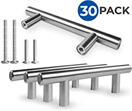 """Kitchen Cabinet Door Handle Set: Modern Satin Nickel Stainless Steel Handles For Cabinets, Cupboards and Drawers - Silver T-Bar Pulls With 2 Mounting Screw Sets - 5"""" Length, 3"""" Center - 30 Pack"""