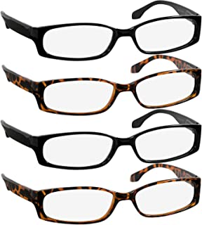 Reading Glasses 1.25 Best 2 Black 2 Tortoise Readers for Men and Women Stylish Look and Crystal Clear Vision When You Need It! Comfort Spring Arms & Dura-Tight Screws