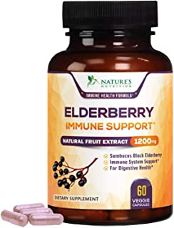 Elderberry Capsules 1200mg Super Concentrated Sambucus Extract Supplement - Immune Support Black Sambucus Nigra - Made in ...