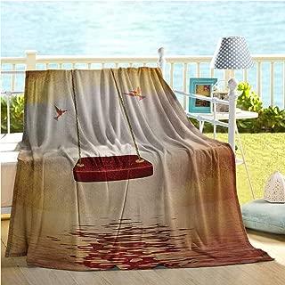 Mademai Hummingbirds Home Decor,Red Hammock and Hummingbird in a Peaceful Lake Fantasy Fairytale Scene,Sofa Sleeper Queen Orange Burgundy 70