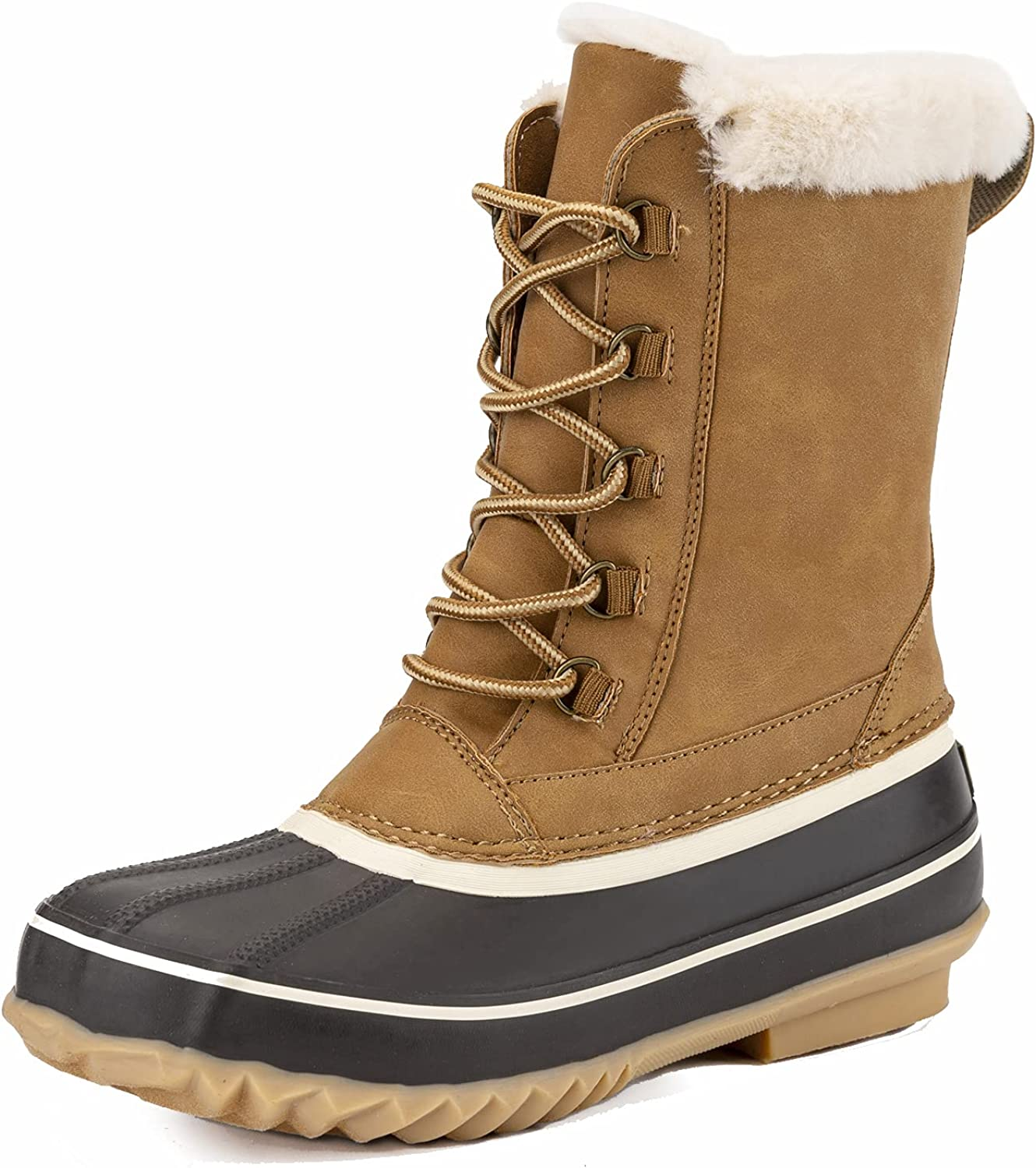 Mid-Calf Snow Boots, GAWBAW Women Waterproof Lace Up Snow Rain Boots Warm Faux Fur Lined Winter Snow Boots