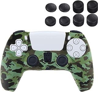 NEWZEROL 1 Kontroll Silikonskydd + 4 Rocker Cap Kompatibel för PlayStation 5, Svettsäker Ljus Tvättbar Kontroll Silikonsky...