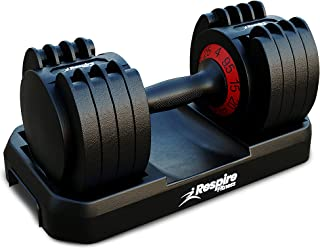 Respire Fitness Adjustable Dumbbells with Smart Quick Locking Cast Iron Plates for Personal Training, Home Gym Workouts, a...