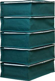 アストロ 収納ケース 衣類用 5枚組 グリーン 不織布 通気性 三方開き 防塵 防湿 618-65
