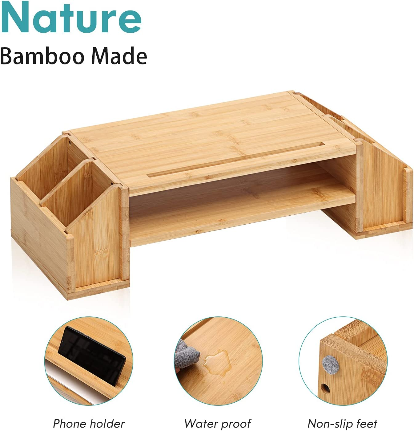 Bamboo Monitor Stand - 2 Tiers Computer Monitor Riser with 4 Pockets Storage Organizer, Cellphone Holder, Desk Organizer for Office Accessories for Printer, Computer, Laptop, Notebook, MR3-SG