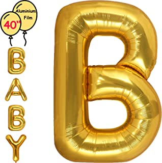 Large 40 Inch Giant Gold Letter Balloon Birthday Party Decorations-Mylar Foil Big Alphabet Helium Balloon … (Letter B)