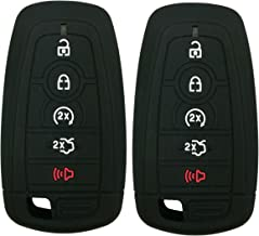 2Pcs Coolbestda Rubber 5buttons Smart Key Fob Full Protector Remote Skin Cover Case Keyless Jacket for 2019 2018 2017 Ford Fusion F250 F350 F450 F550 Edge Explorer