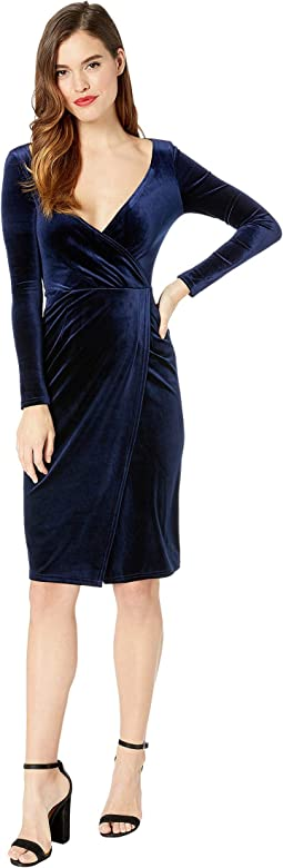 Velvet Long Sleeve Damsel Wiggle Dress