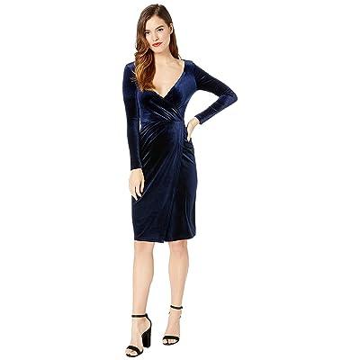 Unique Vintage Velvet Long Sleeve Damsel Wiggle Dress (Navy Blue) Women