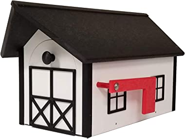 DutchCrafters Poly Post-Mount Mailbox American Made (Black and White)