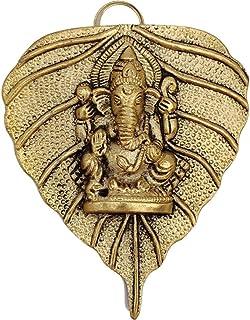 LELSYI Metal Ganesha on Leaf Wall Hanging Sculpture Lord Ganesh Idol Wall Art (5X 4 Inches, Golden)