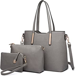 Miss Lulu 3 Pieces Women Handbag + Cross Body Shoulder Bag + Purse Ladies PU Leather Fashion Tote Girls Messenger Satchel