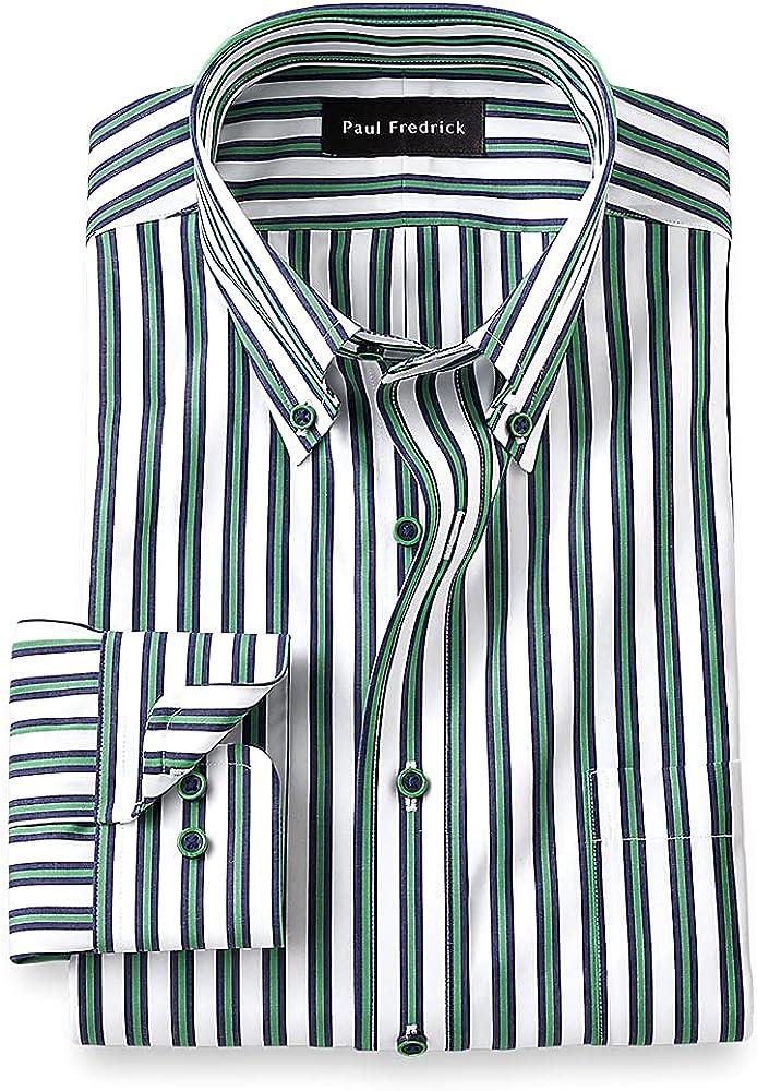 Paul Fredrick Men's Tailored Fit Non-Iron Cotton Alternating Stripe Dress Shirt
