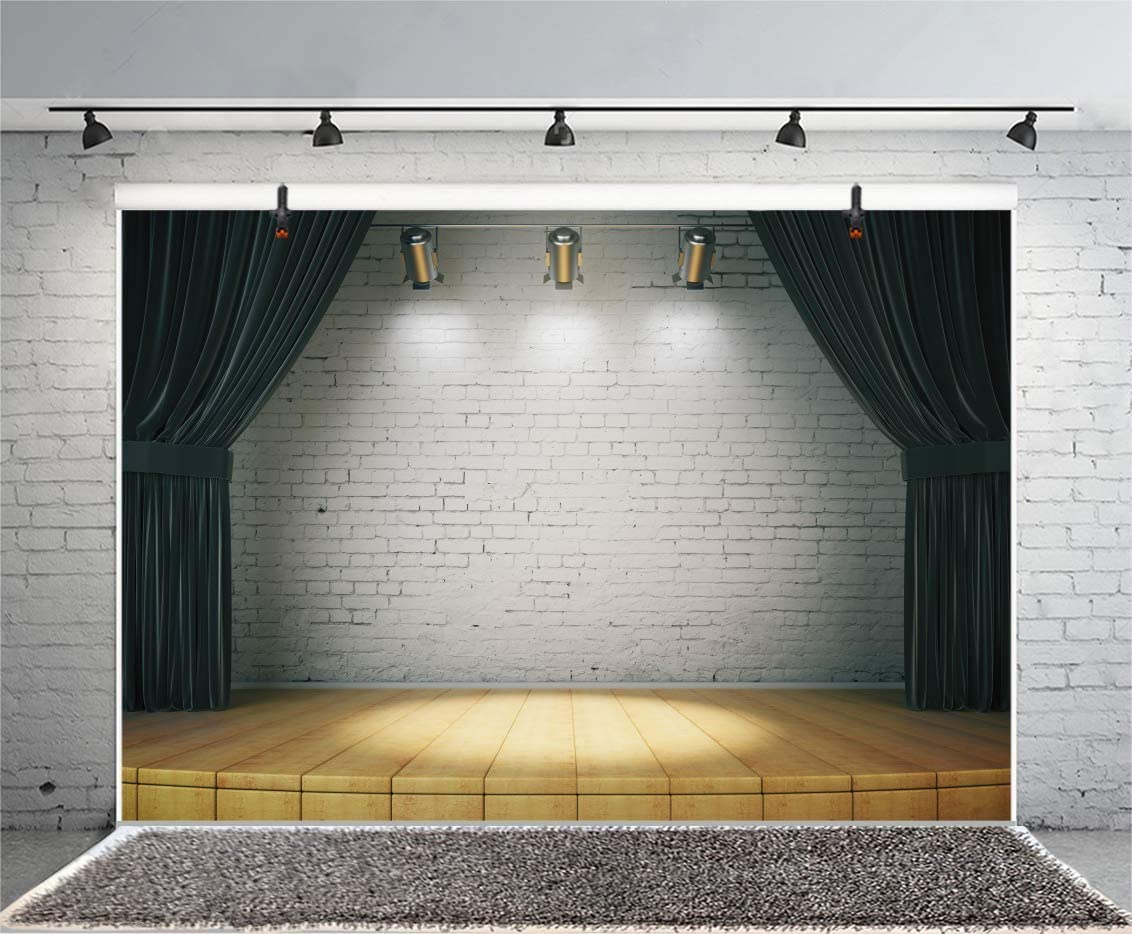 7x7ft Stage Backdrop Spotlights Stage Lights Wood Floor Black Photography Background Fashion Runway Party Birthday Party Children Adults Portrait Studio Video Props