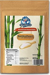 Sharkfood Nutrition Bambusfasern 200g | Lower Carb Mehl <1g Kohlenhydrate | Perfekt zum Backen & Ausrollen uvm. | Glutenfrei | Low Carb | Keto | Mehlersatz | Bindemittel