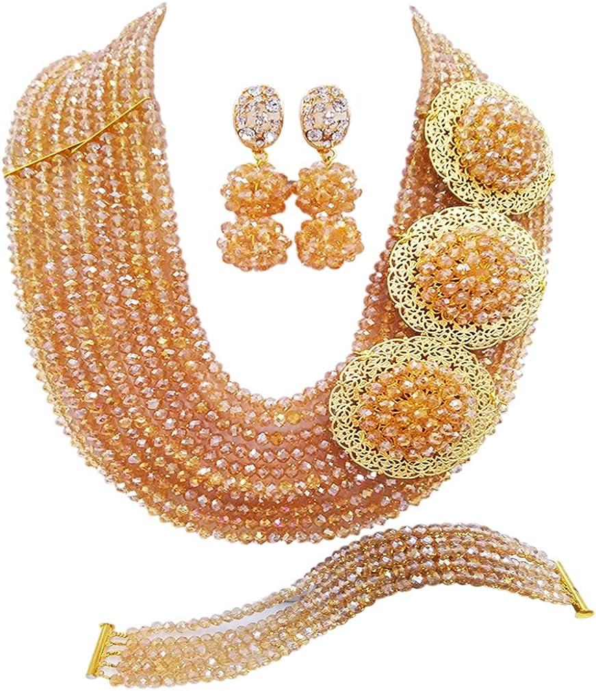 New color laanc 10 Rows Black 6mm Award-winning store African Beads Weddi Nigerian Set Jewelry