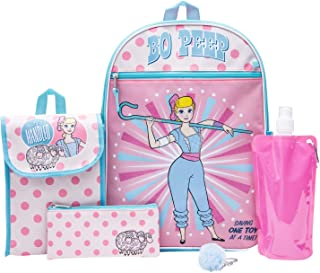 Toy Story Backpack Combo Set - Disney Pixar Toy Story Girls' 6 Piece Backpack Set - Bo Peep & Buzz Lightyear Backpack & Lunch Kit (Light Pink)