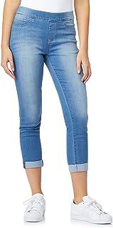 WallFlower Women's Juniors Elastic Waistband Pull On Skinny Jeans