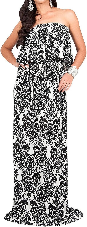 FashionRun Womens Long Strapless Sexy Tube Cute Demask Print Summer Gown Maxi Dress