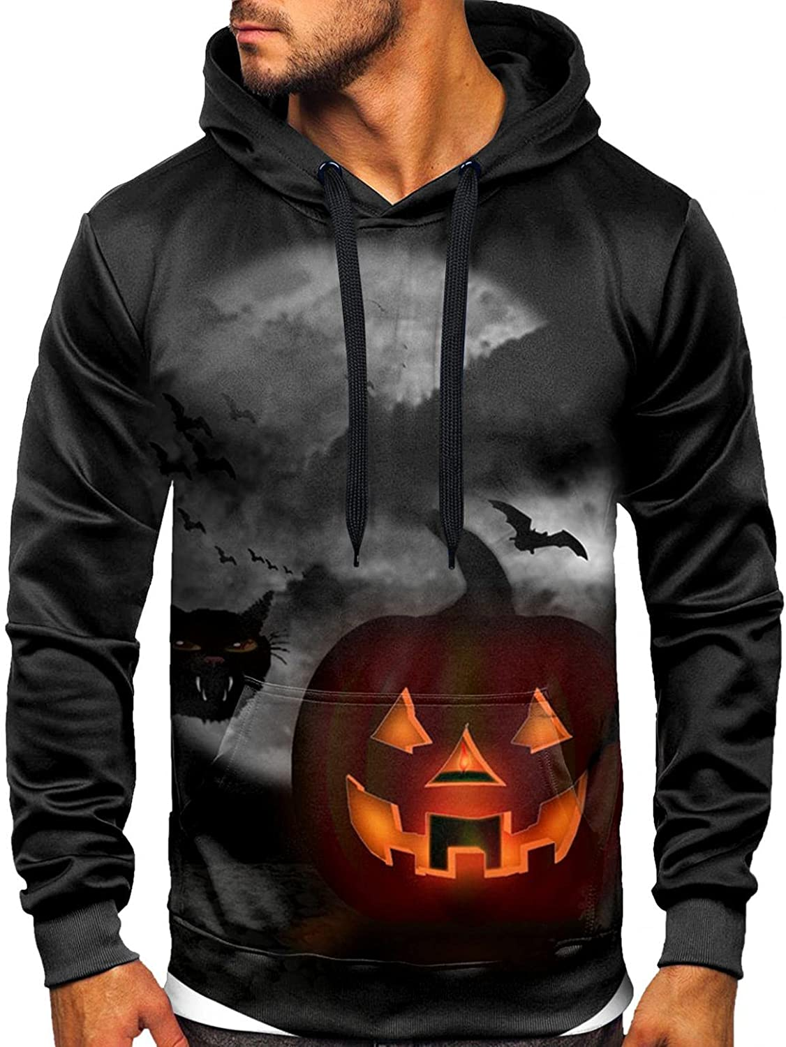 Aayomet Shirts for Men Halloween Printed Pullover Color Splice Shirts Patchwork Long Sleeve Casual Hoodies
